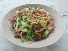 Spaghetti with ox tongue, garden peas, hispi cabbage and chilli