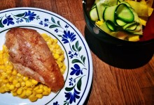 Chicken with sweetcorn and courgette salad